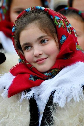 Romanian girl in traditional cosrume